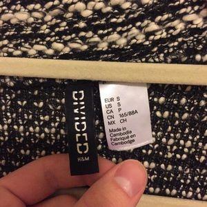 H&M Jackets & Coats - Black and Cream Knit Biker Jacket/Blazer